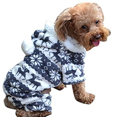 Bocideal 1 Pc Warm Puppy Clothes Pet Dog Jumpsuit Hoodie Coat Gray (S)