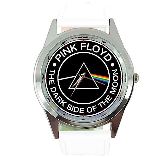 Taport® Runde Quarzuhr, dunkle Seite des Mondes, weißes Echtleder-Armband, inklusive Ersatzbatterie und Geschenkbeutel