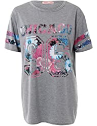 KRISP® Femmes T- Shirt Long Grande Varsity Américaine De Baseball Jersey Imprimé