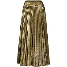 72f7c245c583 Femmes Jupe Plissé Rétro Jupe Longue Haute Taille Lustre Métallique Briller  Grand Pendule A-Line