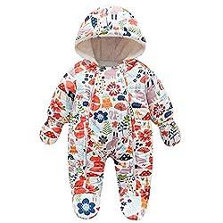 Vovotrade Baby Winter Fleece Overall mit Kapuze Schneeanzüge Blumen Muster Mädchen Jungen Strampler Spielanzug Footed Jumpsuit Baby Kleidung 3-24 Monate