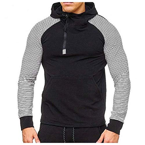 Energy Men's Raglan Sleeve with Hood Zip Up Pin Stripe Pocket Sweatshirt 1 XL Lined Hooded Full Zip Sweatshirt