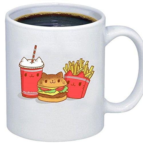 ZMvise Custom Art Kawaii Food Fries Burger Taco céramique blanche gfit tasse tasse noël parfait thanksgiving