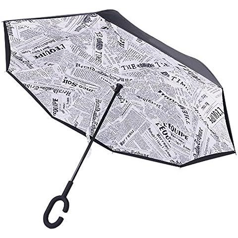 Ombrello a forma di C mani Maniglia Antivento inversione pieghevole a doppio strato invertito ombrello doppio ombrello inversione e Self Standing Inside Out parapioggia ombrello (White newspaper)