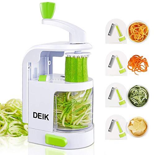 Deik spiralizzatore zucchini spiralizer affetta verdure tagliaverdure, con 4 lame per tagliare/affettare frutta e verdure a julienne,taglia verdura patate per un pasto sano, facile da usare e pulito