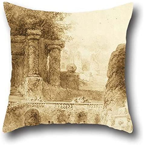 16 X 16 Inch / 40 By 40 Cm Oil Painting Jean-Honor?? Fragonard - Roman Park With Fountain, 1774 Pillowcover,each Side Is Fit For Bf,boys,relatives,monther,bedroom,dining