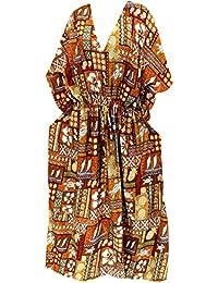 La Leela noche beachwear del traje de baño del bikiní de las mujeres cubre para arriba el vestido flojo caftán