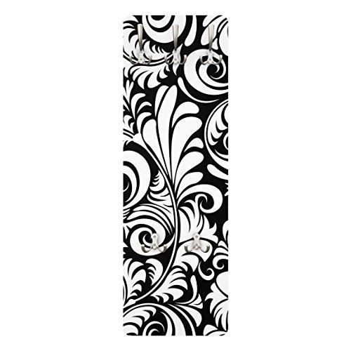 Apalis 78565 Wandgarderobe Black and White Leaves Pattern | Design Garderobe Garderobenpaneel Kleiderhaken Flurgarderobe Hakenleiste Holz Standgarderobe Hängegarderobe | 139x46cm