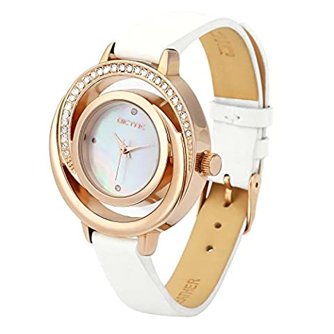 Dictac Damen Armbanduhr mit echtem Leder-Uhrenarmband höltes Perle Fritillaria Zifferblatt Swarovski Kristall Diamant elegante Uhr