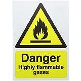 AES s.2002gases inflamables, rígido señal de seguridad, tamaño A4