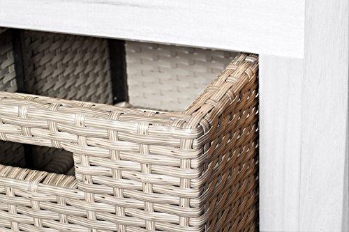 SAM® Gartenbank Flora aus Akazie, weiß lackiert, inklusive 3 x Polyrattan-Korb, Garten-Möbel aus Holz, 121 x 60 cm, FSC® 100% zertifiziert, massive Holzbank, pflegeleichtes Unikat - 4