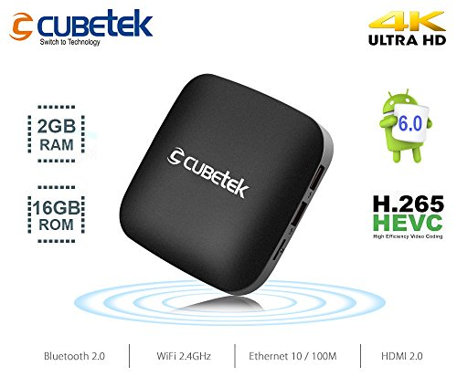 Cubetek 4K Portable Smart TV Box With 2Gb RAM, 16Gb ROM, HDMI 2.0, Android 6.0, Wifi, Dolby 5.1, Model: Cb4Ktx2