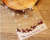 Leisial™ 100Pcs Borse Colorate di Natale Biscotti di Plastica Borse da Imballaggio Borsa da Regalo Autoadesiva di Natale Busta di Caramella Busta da Regalo Decorazione da Partito