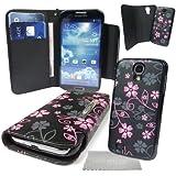 StyleBitz / Elégant étui portefeuille en cuir PU avec coque rigide détachable pour Samsung Galaxy S4 / i9500, motif floral, avec chiffon de nettoyage (noir et rose)