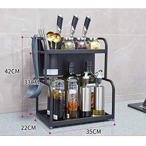 BJYG Küche Lagerung 304 Edelstahl Mikrowellenherd Racks Doppelboden Küche Ablagefläche