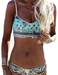 Tongshi Mujeres Bohemia Push-up Sujetador Acolchado Bikini Halter Beach Set Traje de Baño