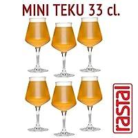 Rastal - 6 verres pack modèle MINI TEKU - 33 cl (11,6 Imp.fl.oz.) - Pour la dégustation de bière universelle - Le premier verre MADE IN ITALY pour la dégustation universelle de bières Artisanat - En paquets de 6 verres - Crystalline Superstrong - Col...