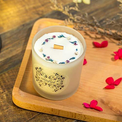 Like More Einfache Soja Wachs weiß Milchglas Flasche getrocknete Blume Kreis duftenden literarischen Stil Ornament,A -