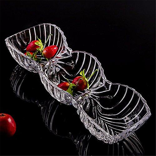 LOSTRYY Assiette de fruits en boîte de verre transparent moderne européenne créative de fruits grand salon vaisselle plats, 380 * 130 * 70MM