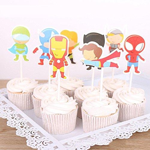 Astra Gourmet 24 Picks Kartoon Avengers Superheld Cupcake Toppers für Motto Party Geburtstag Party Dekoration (8 Design)