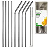 Stainless Steel Drinking Straws, Set of 8, Long Length Straw, 2 Free Cleaning Brushes Included