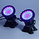 Glighone 2er LED Submersible Unterwasser Sport Licht RGB Wasserdichte LED Leuchten Lampe Teichbeleuchtung Aquarium Teich Fisch Tank Beleuchtung Farbwechsel für Garten, Aquarium, Badewanne, Teich usw.