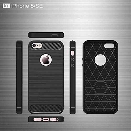 """AOFad Rouge Coque Pour iPhone 5S,[4""""] SE/5 Case, Confortable Tréfilage, Protection des lourds TPU TPU Armure Série TF019 TF018+Navy Blue"""