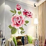 zooarts 3D Rose Blumen vinyl Abnehmbare Vinyl Wandtattoo