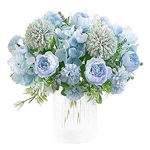 KIRIFLY Flores artificiales, Falso Peony seda Hydrangea Bouquet Decoración Verde claro
