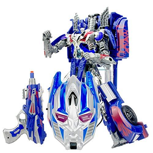 LYN Kinder Spielzeug Verformung Wespe Optimus King Kong Roboter Modell Maske Weiche Kugel Pistole Verwandlung Auto Spielzeug Modell Geschenk (Color : BLUE) -