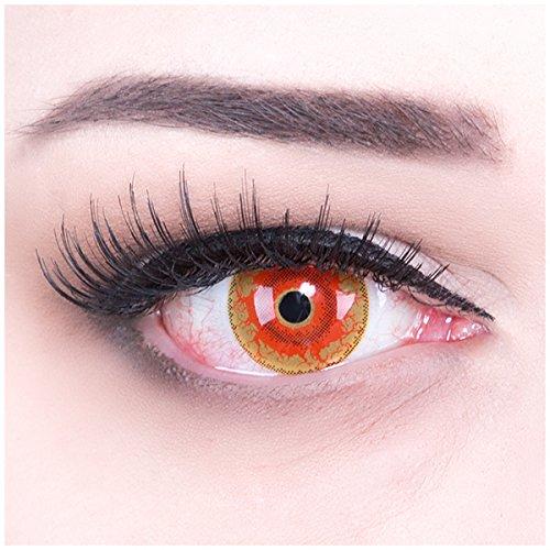 Kontaktlinsen Monster (Meralens rote Kontaktlinsen, Red Monster mit Pflegemittel ohne Stärke, 1er Pack (1 x 2)