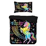 Sticker Superb Funda Nórdica para Niños, Unisornio Arco Iris, Estrellas Brillantes de Galaxias, Funda Nórdica 180 x 220 cm para de 90/105 Camas (Unicornio)