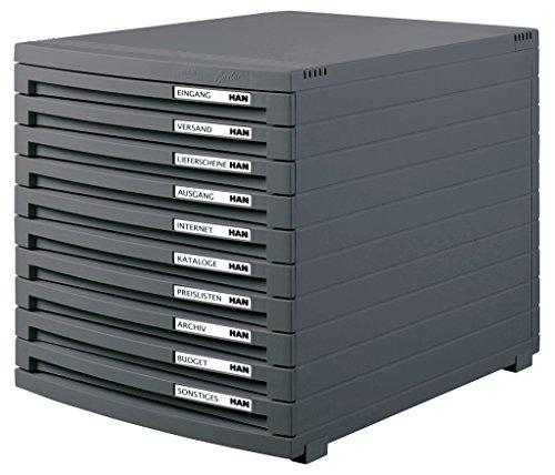 HAN Schubladenbox CONTUR 1510-191 in Dunkelgrau/Modernes, erweiterbares Organisationssystem/Mit 10 geschlossenen Schubladen