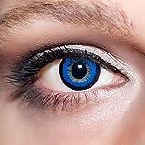 KwikSibs farbige Kontaktlinsen, dunkelblau, große Augen/big Eyes, weich, inklusive Behälter, BC 8.6 mm/DIA 15.0/+1,50 Dioptrien, 1er Pack (1 x 2 Stück)