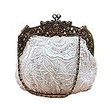 FANG1106 Sac à Main de soirée d'embrayage Dames Sac de Perles Vintage Sac de dîner Sac à Main Sac pour Femme Sac de Robe Sac de mariée Sac à bandoulière pour Mariage (Couleur : Blanc)