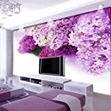YUANLINGWEI Lila Blume Wandbild 3D Photo Wandbilder 3D-Wandbilder Tapeten Für Fernseher Sofa Hintergrund Wohnzimmer 3D Wall Paper Wandmalereien (1 Quadratmeter)
