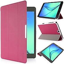 iHarbort® Samsung Galaxy Tab A 9.7 Funda - ultra delgado ligero Funda de piel de cuerpo entero para Samsung Galaxy Tab A 9.7 pulgada (SM-T550 SM-T555) (Galaxy Tab A 9.7, rosa fuerte)