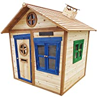 Big Game Hunters 6 x 5 Redwood Mansion Wooden Playhouse - Painted Large Wendy House with Letterbox