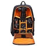 Selighting Sac à Dos Appareil Photo Réflex Sac Photo Imperméable pour Ordinateur Portable Trépied DSLR Canon Nikon Sony avec Housse de Pluie (Orange)