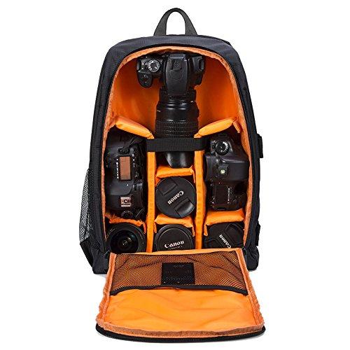 Selighting Mochila Fotográfica Multifunción y Impermeable para Cámaras Réflex Digital SLR Lentes Trípode Flash Laptop Portátil Canon Nikon Sony Drone y Accesorios (Naranja-1)