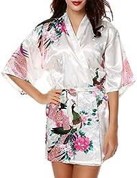 CHENGYANG Femme Paon et Fleurs Cardigan Robe de Chambre Satin Peignoir Court Kimono Soie