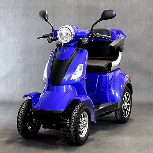 Elektroroller 4-Rad, Elektromobil für Senioren, Scooter E-Mobil, Seniorenfahrzeug, 55km 1000W 25 Km/h (Blau)