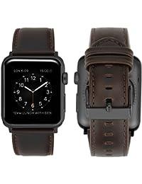 Apple Watch Series 3 Correa 42mm, iBazal Correa para Apple Watch 42mm Cuero Genuino Banda de Piel para 42mm Apple Watch Series 3/ Series 2/ Series 1 - Café Clásico