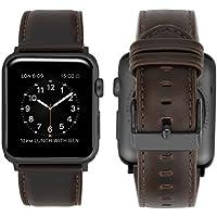 iBazal Compatible avec Apple Watch Series 4 Bracelet 44mm Cuir, iWatch Bracelet Apple Watch 42mm pour 42mm 44mm Apple Watch Série 4, Série 3, Série 2, Série 1 - Café Classique
