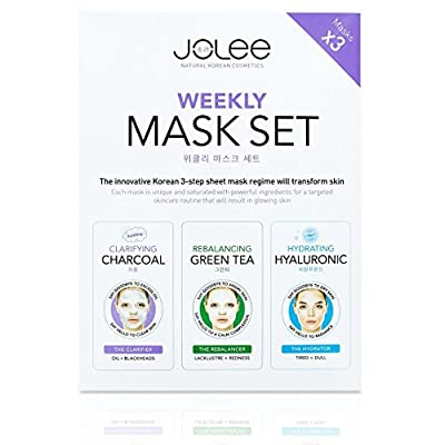 JoLee Weekly Face Sheet Mask Set 3 Pack, Black Charcoal Bubble Mask – Green Tea & Collagen Mask – Hyaluronic Acid Gel Mask, Facial Detox Kit for Deep Acne Purifying, Skin Revitalising, Moisturising, Natural Korean Skincare from JoLee
