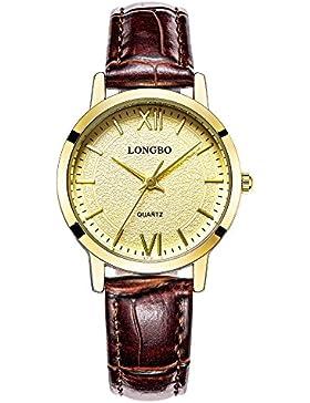 neue modische Ziffern römisch braunes Leder Quarzuhr der Frauen Gold Gesicht ultradünnen Paar Studenten Uhr