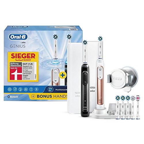 Oral-B Bonuspack Genius Wiederaufladbare Elektrische Zahnbürste, 2 Handstücke mit Bluetooth-Verbindung, 6 Modi, 7 Aufsteckbürsten, rosegold und schwarz (Zahnbürste Wiederaufladbare)