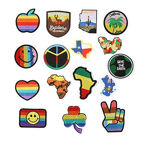 geln/Aufnähen, 16 Stück, Gay Pride Peace, Mini-Mode, zum Aufnähen von Kleidung, Kleid, Pflanzen, Hut, Jeans, Kappen, Blumen, Applikation, DIY Zubehör zum Aufnähen ()