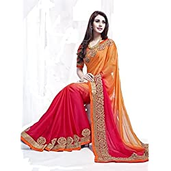 Macube Sarees (Women's Clothing Saree For Women Latest Design Wear Sarees Collection in Multi-Coloured Georgette Material Latest Saree With Designer Blouse Free Size Beautiful Bollywood Saree For Women Party Wear Offer Designer Sarees With Blouse Piece)