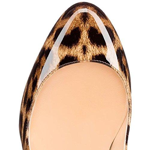 EDEFS Damen 120mm Hoch Absatz Pumps Runde Zehe Lack High Heels Schuhe Leopard